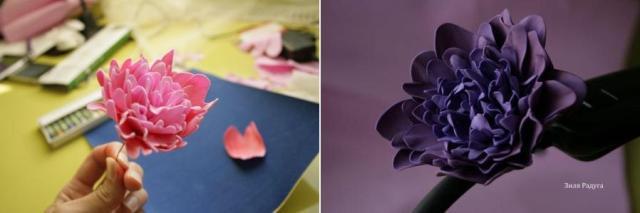 Цветы из розового фоамирана