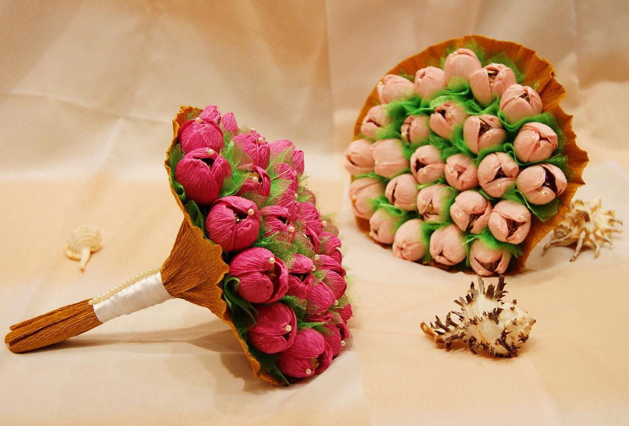 Подарок цветы с конфетами своими руками 40